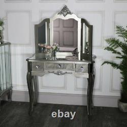 Table Dressing Console Miroir 3 Voies Triple Table Miroir De Vanité Chic Français