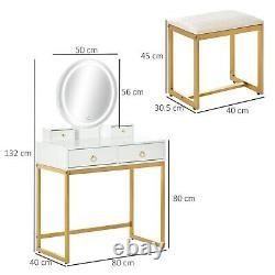 Table Dressing De Luxe Tabouret Chaise Gold Base Led Miroir Chambre Maquillage Vanité