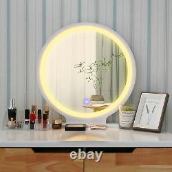 Table Dressing En Bois Vanity Makeup Desk Tabouret Led Lighted Mirror Organisateur Nouveau