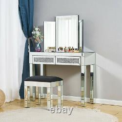 Table Dressing En Verre Miroir Tabouret Chambre À Coucher Bureau De Maquillage Diamond Drawer Uk