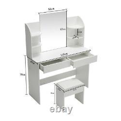Table Dressing Moderne Avec 2 Tiroirs 4 Étagères Grand Maquillage Miroir Set En Blanc Royaume-uni