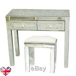 Table Magnifique Verre 2 Mirrored Dressing Tiroirs Vanity Table / Tabouret En Cuir