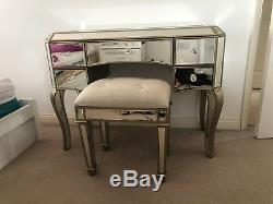 Table Vintage Vinaigrette Vénitienne Mirrored Furniture Antique Or Verre Tiroirs