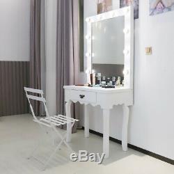 Tableau Blanc Vinaigrette, Ampoules Led Miroir Set Bureau Maquillage Chambre Hollywood Style