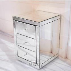 Tables De Chevet Et Armoires Coiffeuse Mirrored Verre Chambre Maison Chevet