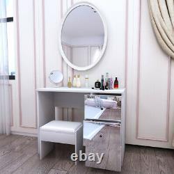 Tabouret De Table Moderne En Verre Miroir Vanity Set Makeup Desk Avec 3 Tiroirs