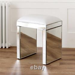 Tabouret Miroir Vénitien Avec Plateau De Siège Blanc Table De Dressing En Verre Ven05w