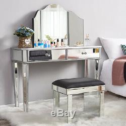 Uk Coiffeuse Vanity Dresser Console Chambre Tabouret Miroir De Maquillage Ensemble