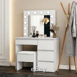 Vanity Coiffeuse Tabouret Set Maquillage Miroir Commode Bureau 4 Tiroirs 12 Ampoules Led