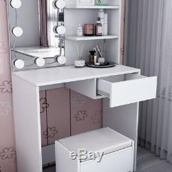 Vanity Coiffeuse Tabouret Set Maquillage Miroir Commode Bureau Avec 10 Ampoules Led