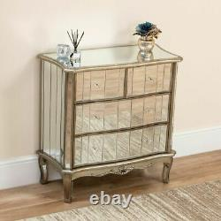 Venetian Mirrored 4 Tiroirs Chest Dressing Sideboard Bedroom Cabinet Furniture
