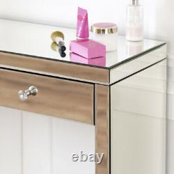 Venetian Mirrored Dressing Table + Curved Tri-sided Vanity Mirror Set Ven66-41