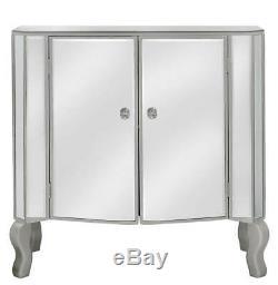 Venise Coiffeuses Verre Mirrored Buffet Avec 2 Portes 80cm