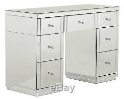 Vénitien Argent Mirrored Chambre Coiffeuse Table De Chevet & Set