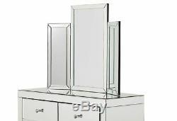 Vénitien Argent Mirrored Coiffeuse Et Trois Fois Vanity Tabouret Et Miroir Chambre