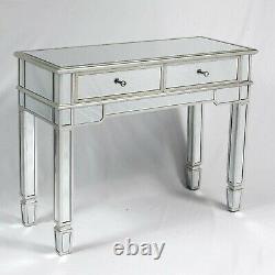Vénitien Champagne Argent Miroir Console Table 2 Table De Toilette Tiroir