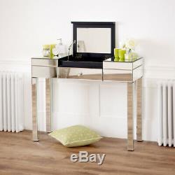 Vénitien Compartiment Mirrored Coiffeuse Avec Blanc Tabouret Ven92 Ven05w