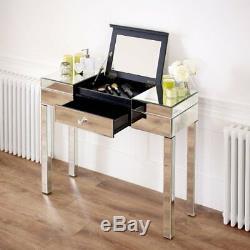 Vénitien Compartiment Mirrored Coiffeuse Set Tabouret Blanc Ven92-ven05w