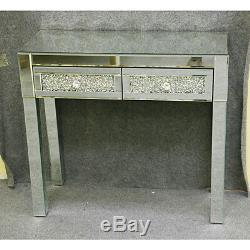 Vénitien En Verre Mirrored Chambre Coiffeuse Ou Table Console Avec Tabouret Royaume-uni