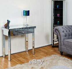 Vénitien En Verre Mirrored Table Moderne Mobilier Salle Console Béquille Dressing