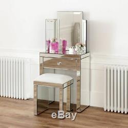 Vénitien Mirrored Coiffeuse Avec Miroir Et Tabouret Blanc Ven16-ven05w-ven39