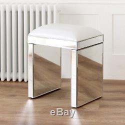 Vénitien Mirrored Coiffeuse Avec Verre Blanc Tabouret Set Ven66-ven05w