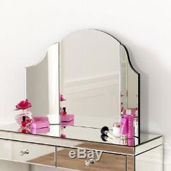 Vénitien Mirrored Coiffeuse Set Avec Blanc Tabouret Ven66 Ven05w Ven41