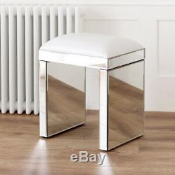 Vénitien Mirrored Coiffeuse Set Avec Blanc Tabouret Ven66-ven05w-ven39