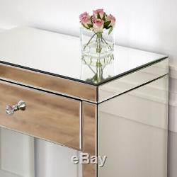 Vénitien Mirrored Compact Coiffeuse Avec Verre Blanc Tabouret Ven16-ven05w