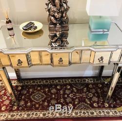 Vénitien Mirrored Console Grand Dressing Meubles Antiques En Verre D'argent