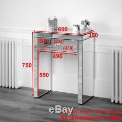 Vénitien Mirrored Table Compact Coiffeuse Avec Miroir Et Noir Tabouret Ven16-05b-39