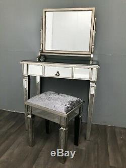 Vénitien Mirrored Verre Tabouret Coiffeuse Capitonnées De Velours Siège Vintage Retro