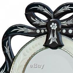 Vénitien Noir D'art Déco Clair Gravé Verre Crest Ovale Coiffeuse Miroir Mural