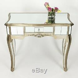 Verre Antique Champagne Or Pâle Mirrored Salle Side Console Coiffeuse
