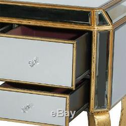 Verre Antique Gold Mirrored Coiffeuse Console Bureau Salle
