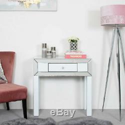 Verre Blanc Arctique Miroir Garniture 1 Tiroir Chambre Unité Console Coiffeuse