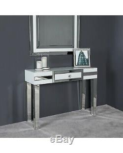 Verre Blanc Chrome Mirrored Luxe Une Console Tiroir Table Coiffeuse