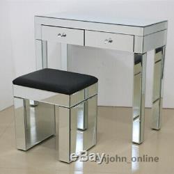 Verre Coiffeuse Mirrored Maquillage Bureau 2 Tiroirs Console Noir / Blanc Tabouret