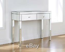 Verre En Cristal Mirrored Furniture Coiffeuse 2 Tiroirs Avec Console Tabouret Royaume-uni