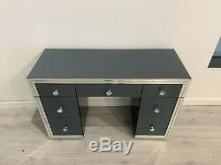 Verre Gris Mirrored Chambre 7 Tiroirs Coiffeuse