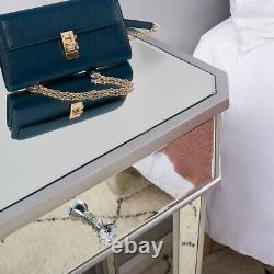 Verre Miroir 2 Tiroirs Console De Table De Dressing Bureau De Maquillage Vanity Chambre Nouveau