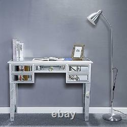 Verre Miroir 5 Tiroirs Table De Habillage Console De Maquillage Bureau Vanity Table