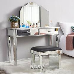 Verre Miroir Miroir Meubles De Chambre À Coucher 2 Dressing Tiroir, Tabouret, Miroir