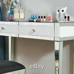 Verre Mirror 2 Tiroirs Coiffeuse Beauté Bureau Maquillage Chambre Mobilier Royaume-uni