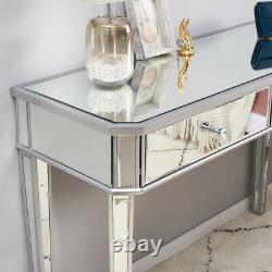 Verre Mirror 2 Tiroirs Coiffeuse Console Grossissant Bureau Vanity Chambre Au Royaume-uni