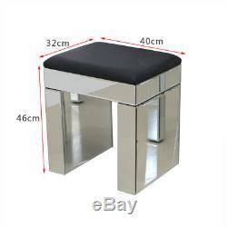 Verre Mirror 2 Tiroirs Coiffeuse Ensemble Avec Tabouret Miroir Console Furniture