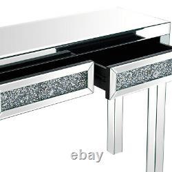 Verre Mirror 2 Tiroirs Diamant Coiffeuse Console Grossissant Bureau Chambre Royaume-uni