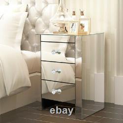 Verre Mirrored Chambre Table Meubles-dressing, Tabouret, Miroirs Et Tables De Nuit