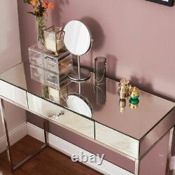 Verre Mirrored Coiffeuse Nuit Chambre Maquillage Bureau 1 Tiroirs Dresser Royaume-uni