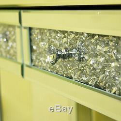 Verre Mirrored Coiffeuse Nuit Lit Chambre Maquillage Bureau 2 Tiroirs Dresser Royaume-uni